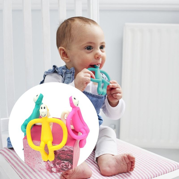 Soft Silicone Cartoon Monkey Toddler Molar Teeth Pain Relief Tool Kids Teether