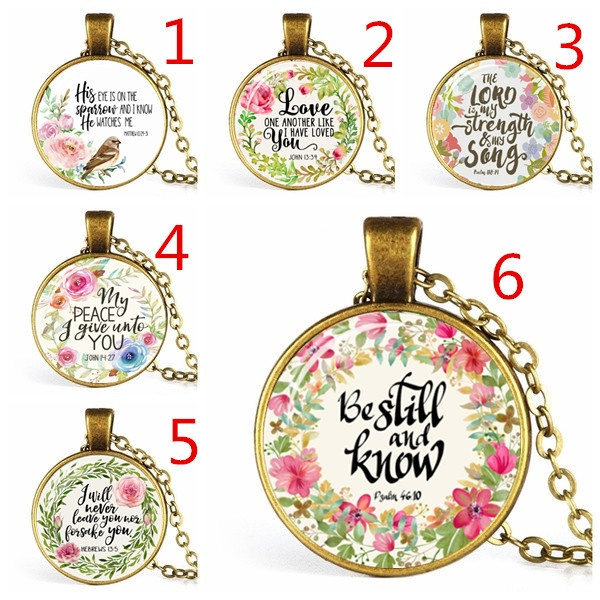 Handmade Bible Poetry Glass Dome Necklace Writing Jewelry Christian Mother  Sister Gift Clothing Accessories[Buy 1 Get 1 Free]