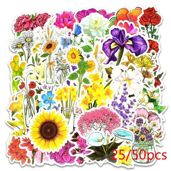 25/50 Pcs/set Flowers Blooming Elements Graffiti Stickers Car Luggage  Laptop Guitar Stickers