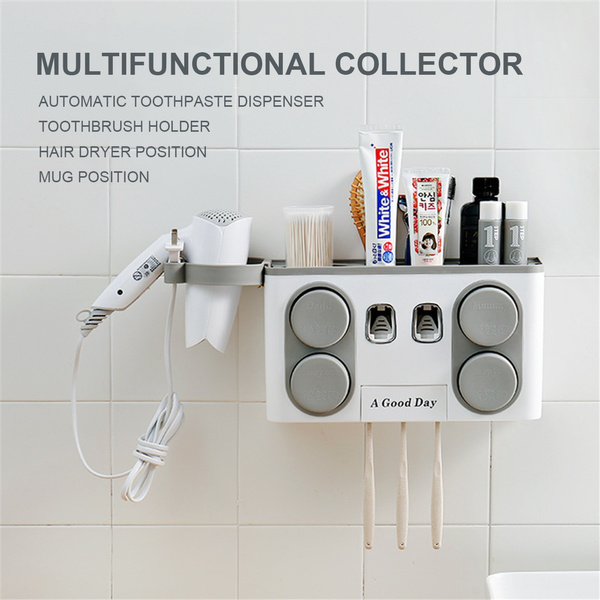 Wall Mounted Toothbrush Holder Set with Cups and Automatic Toothpaste Dispenser