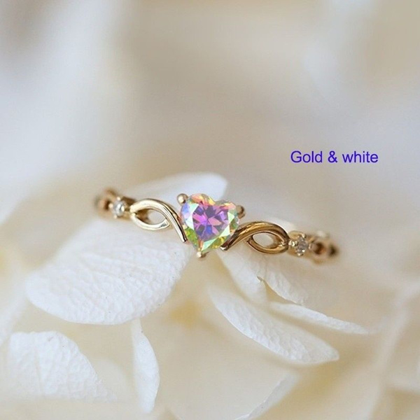 Exquisite Women Dainty 18k Gold Skyblue Heart Shaped Sapphire Diamond Gemstone Ring by Wish