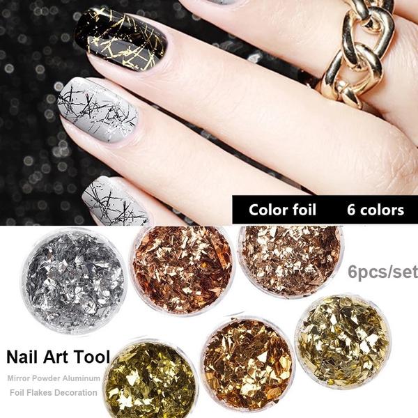 6Pcs/set Nail Art Glitter Gold Silver Silk Stripes Lines Sequins  Multifunction Magic Effect Mirror Powder Aluminum Foil Flakes Decoration