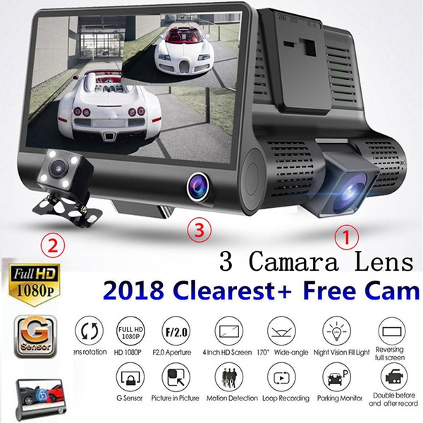 4/'/' HD 1080P 3 Lens Car DVR Dash Cam G-sensor Video Recorder Rearview Camera