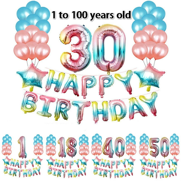 1set Happy Birthday Letter Foil Balloon 16 18 21 30 40 50 60th Balloons Number Baloon Kids Adults Decor Banner Theme