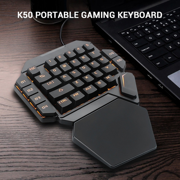 One Handed Gaming Keyboard 35-Key Portable RGB Blacklight Mechanical Keyboard with Macro Definition Function Compatible with Win10//8//7//Vista//ME//Mac//Linux//IBM