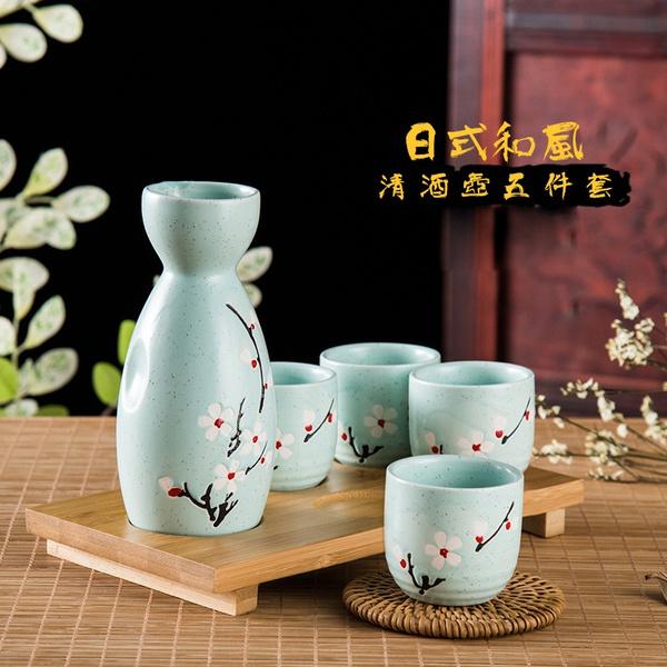 5 Pieces Japanese Sake Pot Set Hand Painted Porcelain Pottery Ceramic Wine Cups