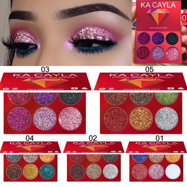 Ka Cayla 6 Colors Cosmetic Glitter Eye Shadow Palette Loose Mineral