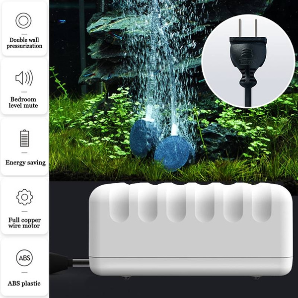 Ultra-Silent Air Bubble Disk Stone Aerator Aquarium Fish Tank Pond Pump  Hydroponic Oxygen Pump
