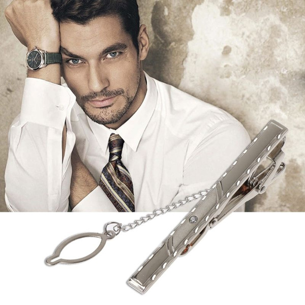Metal Long Chain Tie Clip Wedding Necktie Clasp Inlaid with Crystal Men  Jewelry DUC