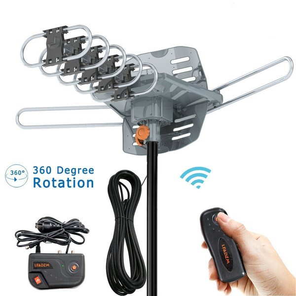 Leadzm 150Miles Outdoor TV Antenna Amplified HDTV 1080P UHF Digital 10m Cable