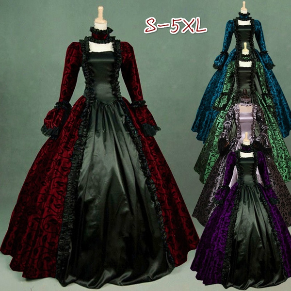 S-5XL Medieval Women Fashion Plus Size Masquerade Gothic Victorian Maxi  Dress Vintage Lace-up Floor Length Lace Dress Stylish High Quality Cosplay  ...