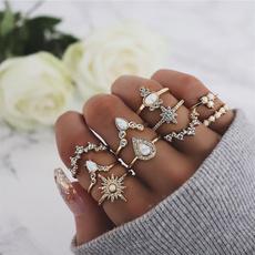 bohoring, crystal ring, Star, gold