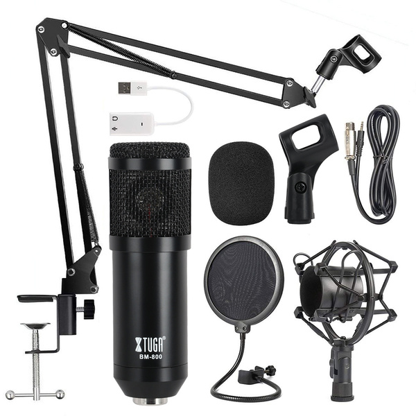 BM-800 Condenser Microphone Studio Pro Audio Sound Recording w//Mount Pop Filter