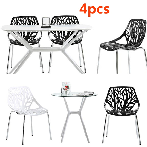 Incredible 4Pcs Living Room Chairs Plastic Steel Dining Room Stool Leisure Student Backrest Restaurant Chairs Lamtechconsult Wood Chair Design Ideas Lamtechconsultcom