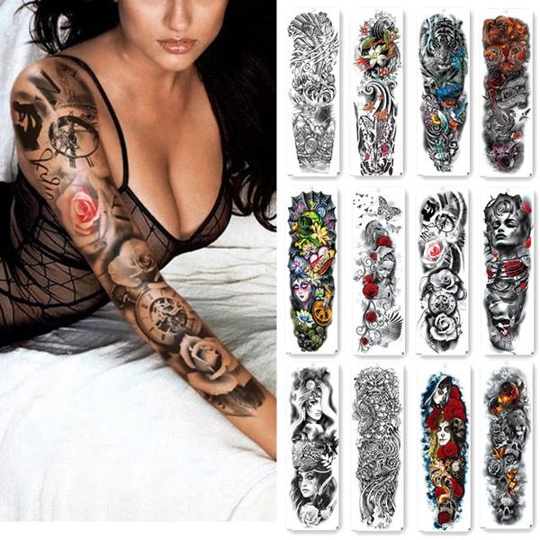 Large Arm Sleeve Tattoo Sketch Lion Tiger Waterproof Temporary Tattoo Sticker Wild Fierce Animal Unisex Full Bird Totem Tattoo