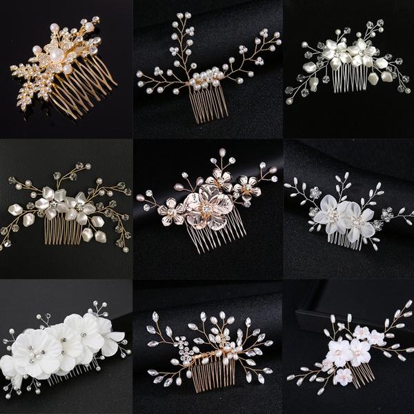 Crown Wedding  Romantic Hair Combs Flower Hair Pin  Leaves Tiara  Bridal Clips