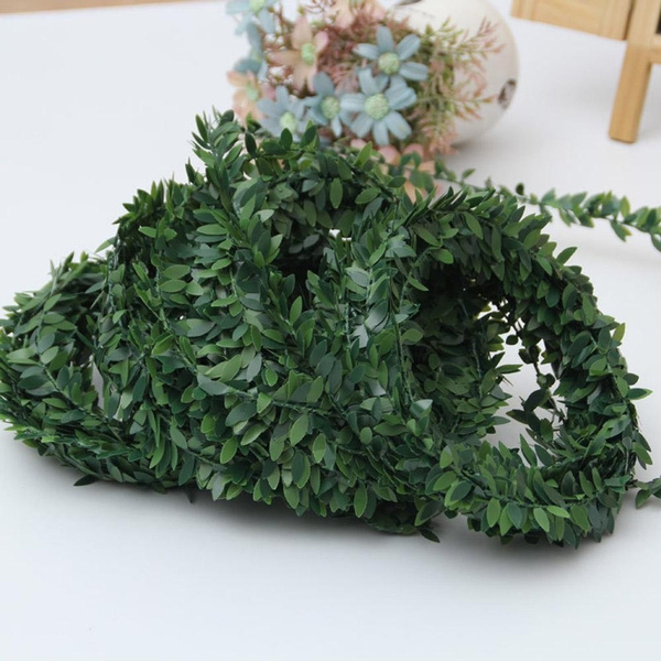 7.5M GARLAND GREEN LEAF WIRE VINE RATTAN ARTIFICIAL FLOWER FOR DIY WREATH