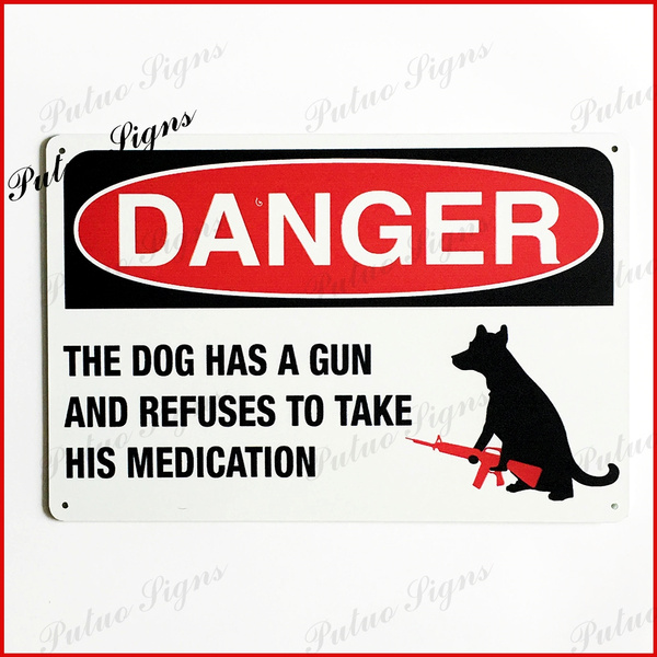Beware Guard Pit Bull Dog On Duty Novelty Aluminum Metal 8x12 Sign