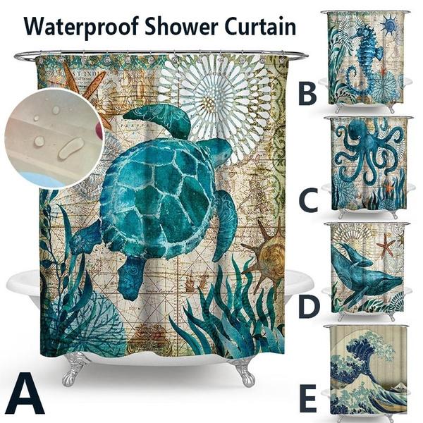 Ocean Theme Curtain Seahorse Whale Octopus Bathroom Waterproof Shower Curtains