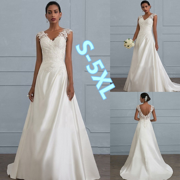 Abiti Da Sposa Wish.Brand New V Neck Women Dress White Ivory Chiffon Wedding Backless