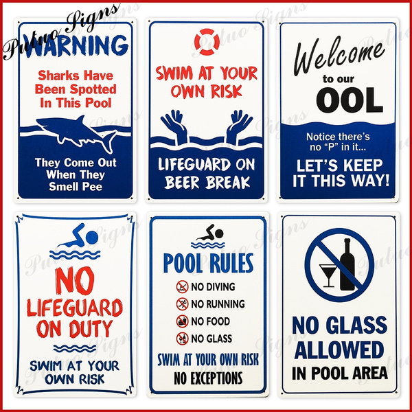 Swimming Pool Signs Pool Rules Signs Warning Metal Signs Safty Signs (  8\