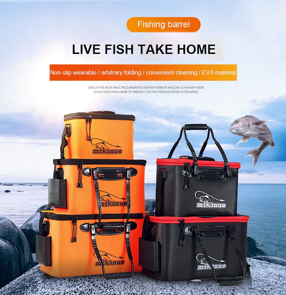 Fishing Bucket EVA Fishing Water Bucket Collapsible Live Fish Box Water Container for Traveling Hiking Fishing Boating