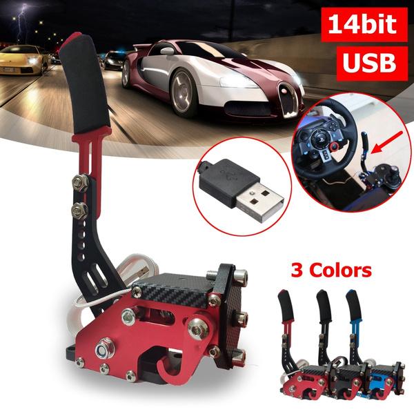 SIM Racing Games USB Handbrake Hand Brake 14bit Non-contact Plus Hall  Sensor Racing Games for G25/27/29 T500 FANATECOSW DIRT RALLY