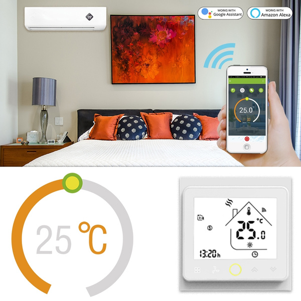 WiFi Smart Central Air Conditioner Thermostat Temperature Controller Fan  Coil Unit Smart Life Tuya Remote Control Work with Alexa Google Home 2 Pipe  4