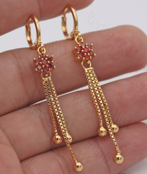 tasselsearring, 18k gold, ruby, Gemstone Earrings