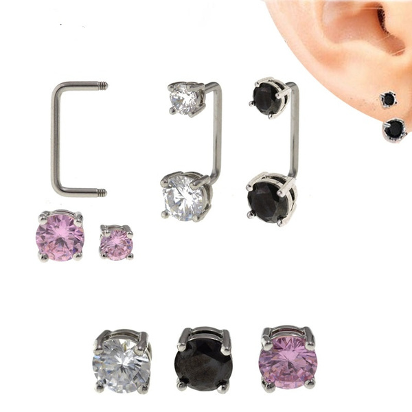 2pcs 316l Stainless Steel Zircon Tragus Earring Helix Barbell Ear Piercing Daith Cartilage Tragus Piercing Jewelry For Women