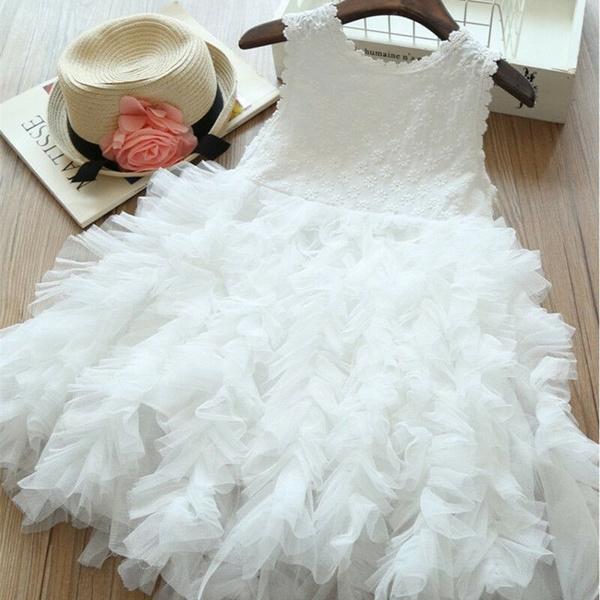 Toddler Kids Baby Girl Flower Tulle Dress Party Gown Bridesmaid Dresses Sundress