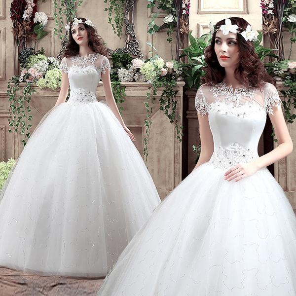 Wedding Dress Bride Qi 2019 New Word Shoulder Korean Style Large Size