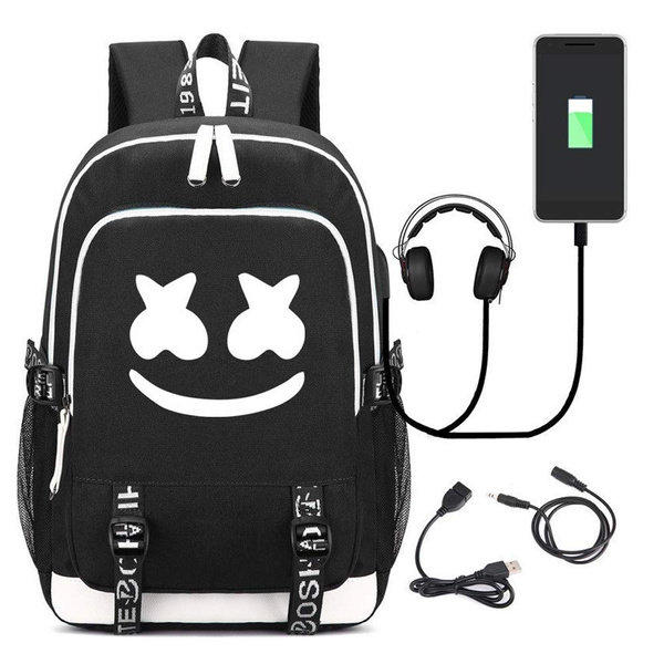 Marshmello Backpack Multifunction USB Charging Backpack for Teenagers Men Women's Student School Bags Travel Luminous Bag School Bags for Kids Satchel