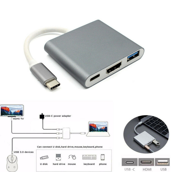 Phone Type C 3.1 to USB-C 4K HDMI USB 3.0 Adapter Cable 3 in 1 Hub For Macbook
