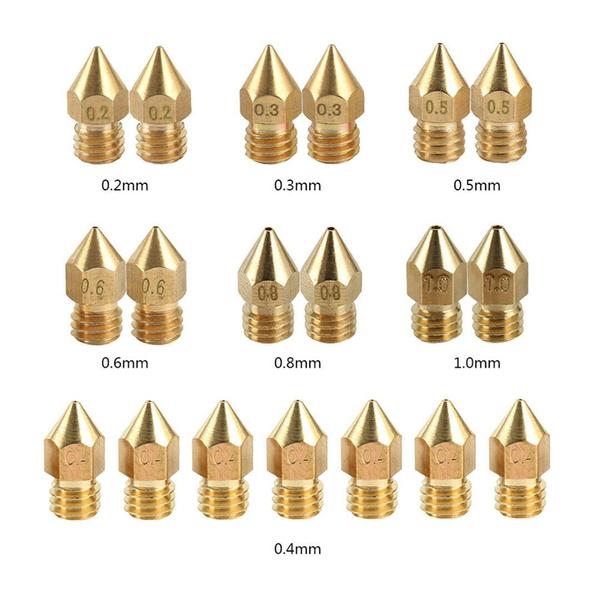 19PCS 3D Printer MK8 RepRap Extruder J-head Nozzle 0.2//0.3//0.4//0.5//0.6//0.8//1mm
