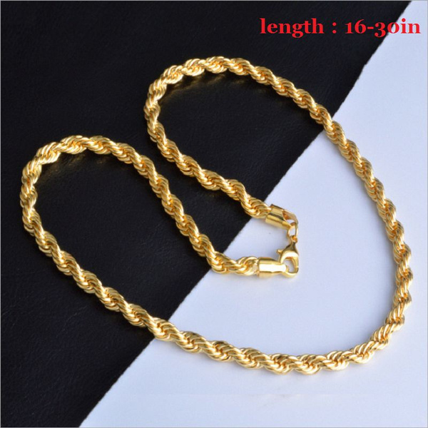 Italy Twisted Chain Necklace Men Women Fashion 18k Gold Necklaces Bride Wedding Engagement Chain Necklace Size 16 30inch 2mm Wish