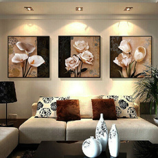 bedroom, Decoración, Flowers, modern abstract oil painting
