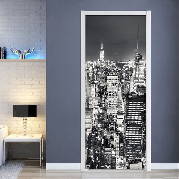 3d Wallpaper Black White City Building Scenery Mural Living Room Study Room Door Sticker Pvc Self Adhesive Waterproof Wall Paper 30x7977cm X 200cm