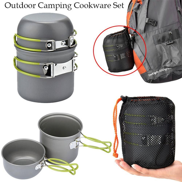 Camping & Hiking Outdoor Camping Cookware Set Portale Tableware Cooking Travel Cutlery Utensils Pot Pan Hiking Picnic Tools
