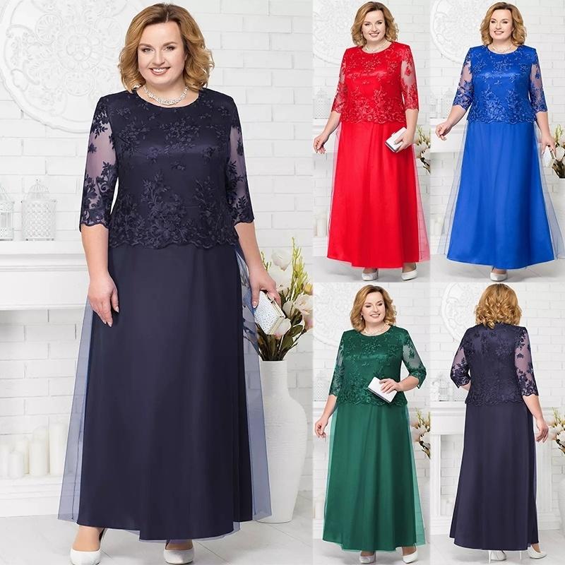 Details about Women Dresses O-neck Half Sleeve Long Lace Formal Plus Size  Maxi Dress Plus Size