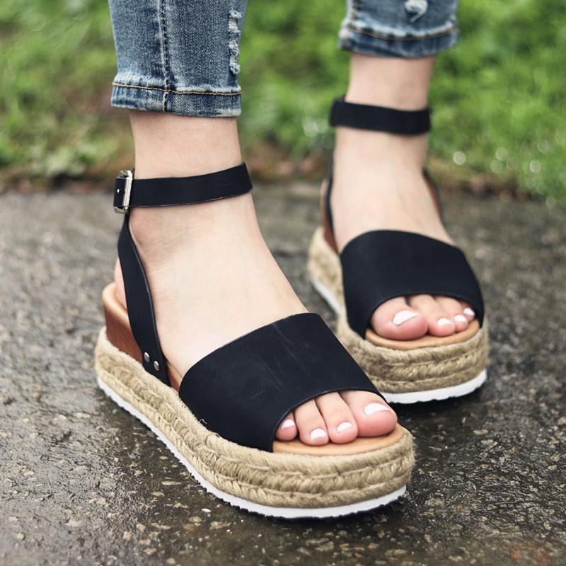 4370af9f34f72 Details about 4 Colors Women Open Toe Ankle Strap Platform Adjustable  Buckle Wedge Sandals