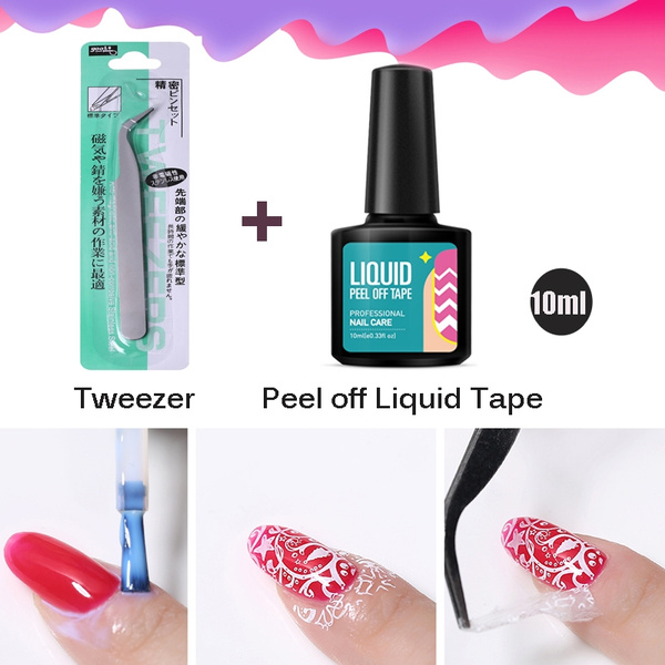 Peel Off Latex Nail Liquid Tape Stamp Polish Glue Lacquer Protect Nails Gel With Curved Tweezer Nail Art Tool Set