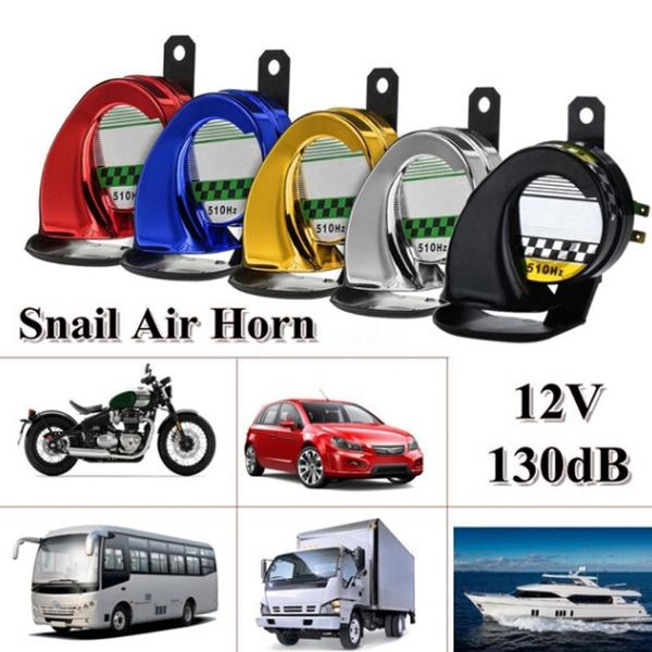 Universal 12V 130DB Electric Loud Snail Air Horn Siren Waterproof Car  Motorbike Truck Boat (Optional:Black/Silver/Red/Blue/Gold)