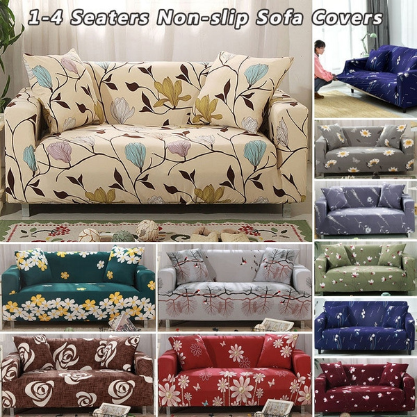 1/2/3/4 Seater Elastic Sofa Slipcover Printed Flowers Couch Cover Tight  Wrap All-inclusive Corner Sofa Cover