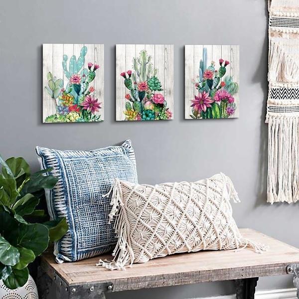 3 Piece Wall Art Watercolor Tropical Plant Desert Cactus Canvas