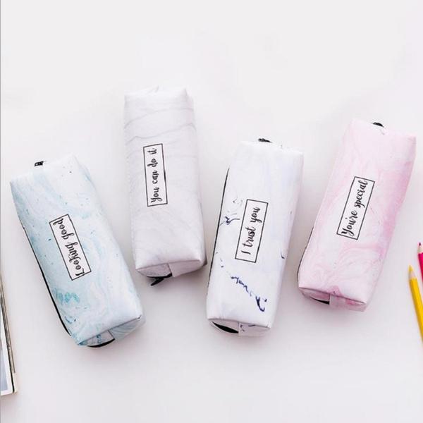 Marble Pencil Case Kawaii Stationery