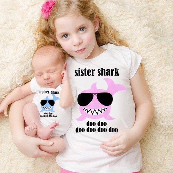 0880a779 Sister Shark Kids Girls Tops T-shirt Brother Shark Baby Boys Romper ...