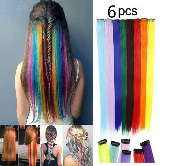 pink, rainbow, Hairpieces, human hair