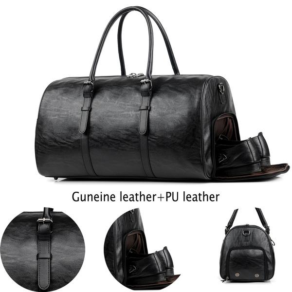 1db27fd52ef7 Genuine Leather+pu leather Duffel Bag Fashion Men Gym Bag Travel Weekender  Overnight Duffel Bag Gym Sports Luggage Tote For Men