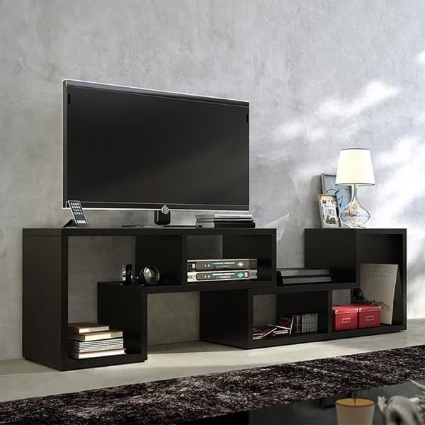 Meuble Tv Table Basse Bibliotheque Collect 3 En 1 123 150 Cm Noir Blancmat Style Fr